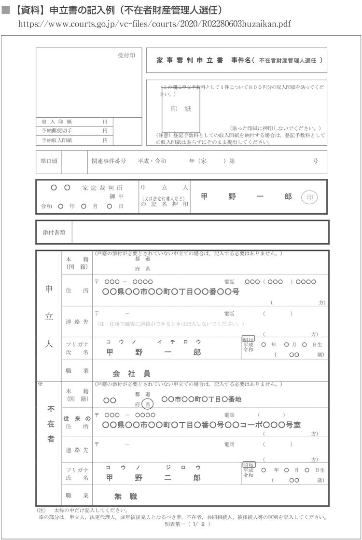 資料 申立書の記入例(不在者財産管理人選任)